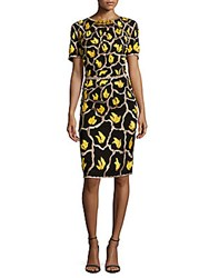 Escada Dylana Embroidered Silk Sheath Dress Black