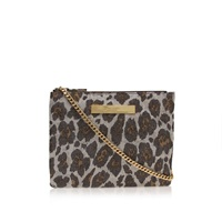 Kurt Geiger Grace Leopard Lurex Printed Clutch Bag Silver