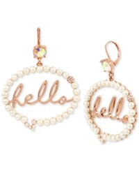 Betsey Johnson Rose Gold Tone Crystal And Imitation Pearl Hello Bubble Drop Earrings White
