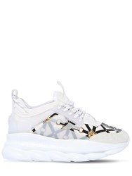 Versace 40Mm Chain Reaction Satin Sneakers White