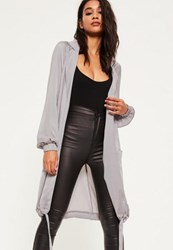 Missguided Grey Satin Cocoon Hem Long Jacket