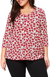 Evans Plus Size Women's Morgan Print Top Red