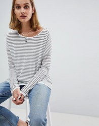 Moss Copenhagen Oversized Long Sleeve Top In Stripe Black