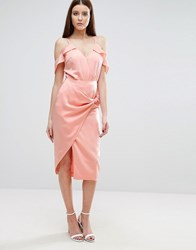 Lavish Alice Pencil Skirt With Knot Front Pink