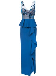 Marchesa Notte Embroidered Sequined Column Gown Polyamide Spandex Elastane Blue
