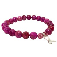 Eye Of The Sea Pink Agate Awareness Bracelet Sterling Silver Charm
