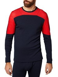 Helly Hansen Lifa Merino Mix Base Layer Crew Top Navy Red