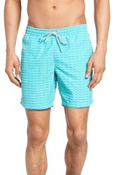 Lacoste Men's Grid Print Swim Trunks