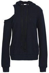A.L.C. Cold Shoulder French Cotton Terry Hoodie Navy