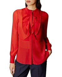 Karen Millen Ruffle Front Blouse Orange