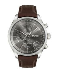Hugo Boss Grand Prix Stainless Steel And Gray Dial Chronograph Leather Strap Watch Brown