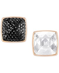 Swarovski Rose Gold Tone Black And Clear Crystal Front Back Earrings