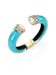 Alexis Bittar Medium Open Lucite And Faux Pearl Cuff Turquoise