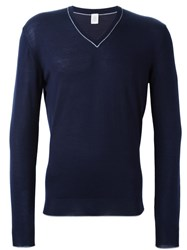 Eleventy V Neck Jumper Blue
