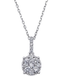 Macy's Diamond Circle Pendant Necklace In 14K White Gold 1 4 Ct. T.W.