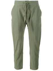 Frame Denim Cropped Cotton Trousers Green
