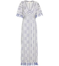 Tory Burch Debra Caftan Linen And Cotton Maxi Dress White