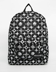 Religion Printed Backpack Blackwhite
