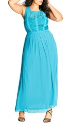 City Chic Plus Size Women's Paneled Lace Bodice Gown Teal