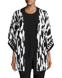 Misook Graphic Print Knit Jacket Black White