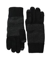 Calvin Klein Asymmetric Moss Stitch Fingerless Gloves Black Extreme Cold Weather Gloves