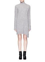 Mo And Co. Edition 10 Asymmetric Hem Turtleneck Sweater Dress Grey