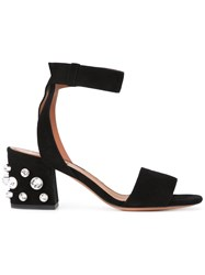 Givenchy Jeweled Sandals Women Leather Suede Glass 36 Black