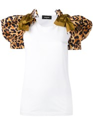 Dsquared2 Leopard Puff Sleeve T Shirt Women Cotton Polyester M White