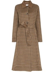Nanushka Alamo Checked Robe Coat Brown