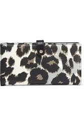 Diane Von Furstenberg Leopard Print Textured Leather Wallet Black