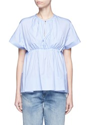 Victoria Beckham Gathered Empire Waist Poplin Top Blue