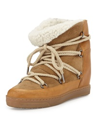 Isabel Marant Nowles Shearling Lined Lace Up Bootie