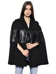 Saint Laurent Cotton Gabardine Cape W Leather Fringe