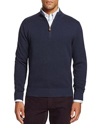 Brooks Brothers Textured Half Zip Sweater Navy Heather