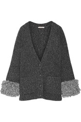 Christopher Kane Fringed Melange Knitted Cardigan Dark Gray