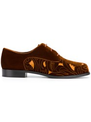 Emporio Armani Cut Out Panel Lace Up Shoes Leather Rubber 36.5 Brown