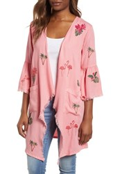 Billy T Flamingo Embroidered Chambray Kimono Sunset Embroider