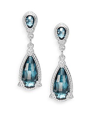 Judith Ripka Fontaine London Blue Spinel And White Sapphire Pear Drop Earrings