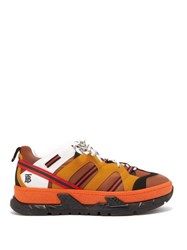 Burberry Rs5 Low Top Nubuck And Mesh Trainers Orange Multi