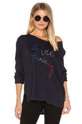 Sundry Parisienne Long Sleeve Top Navy