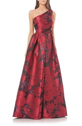 Carmen Marc Valvo Women's Couture Print One Shoulder Ballgown Red Black