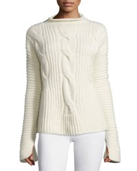 Cedric Charlier Cable Knit Mock Neck Sweater White Bianco