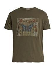 Valentino Butterfly Print Cotton Jersey T Shirt Green