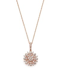 Bloomingdale's Diamond Flower Pendant Necklace In 14K Rose Gold .55 Ct. T.W. 100 Exclusive White Rose