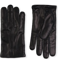 Brioni Cashmere Lined Leather Gloves Navy
