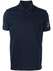 Lanvin Embroidered Fish Polo Shirt Blue