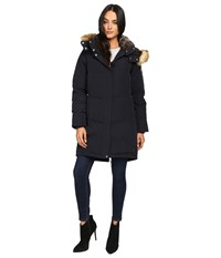 Vince Camuto Faux Fur Trim And Lined Hooded Down Removable Hood L1011 Navy Women's Coat