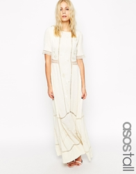 Default N A Asos Tall Maxi Dress With Lace Inserts And Floral Embroidery Multi