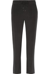 Alexander Wang Washed Stretch Silk Charmeuse Track Pants Black