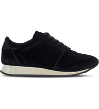 Carvela Languid Metallic Velvet Trainers Black